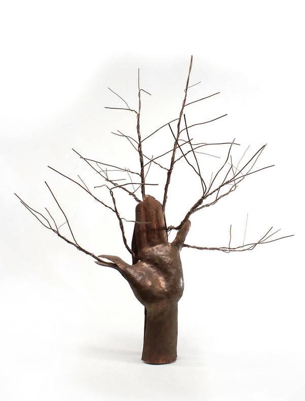 Sculpture Poster featuring the sculpture Copper Tree Hand A Sculpture By Adam Long by Adam Long