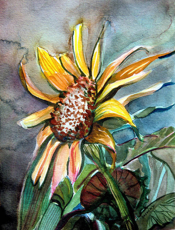 Sunflower Poster featuring the painting Evening Sun Flower by Mindy Newman