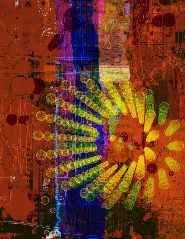 Abstract Poster featuring the digital art F 07 by Piotr Storoniak