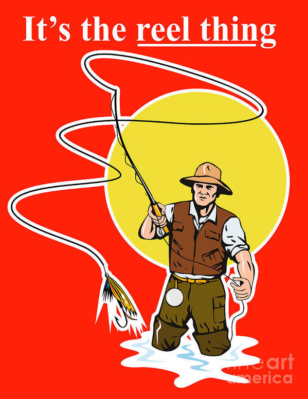Fly Fisherman Poster featuring the digital art Fly Fisherman by Aloysius Patrimonio