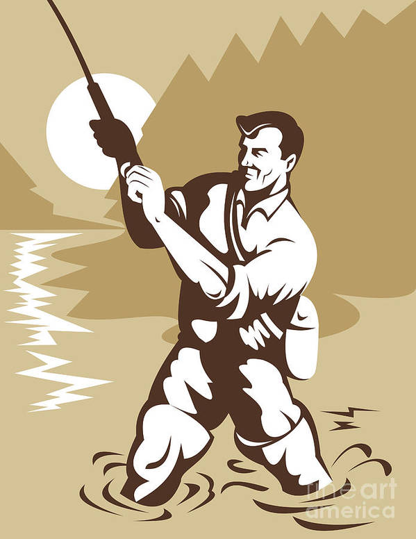 Fisherman Poster featuring the digital art Fly Fisherman Casting by Aloysius Patrimonio