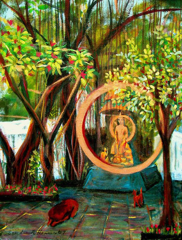 Buddha Poster featuring the painting Golden Buddha by Art Nomad Sandra Hansen