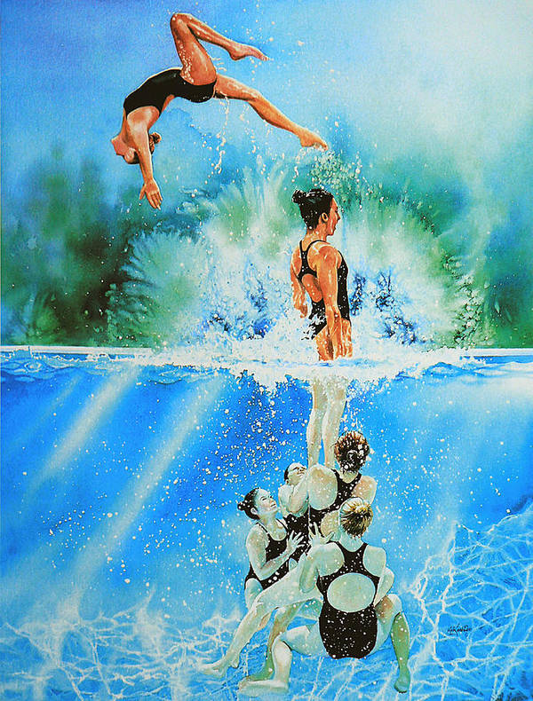 Swimming Poster featuring the painting In Sync by Hanne Lore Koehler