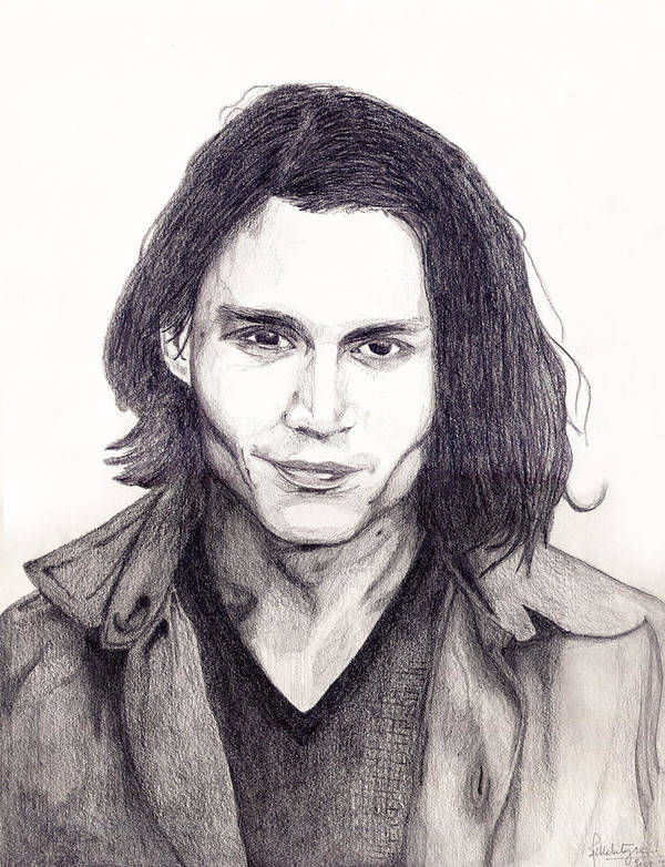 Actor Poster featuring the drawing Johnny Depp by Debbie McIntyre