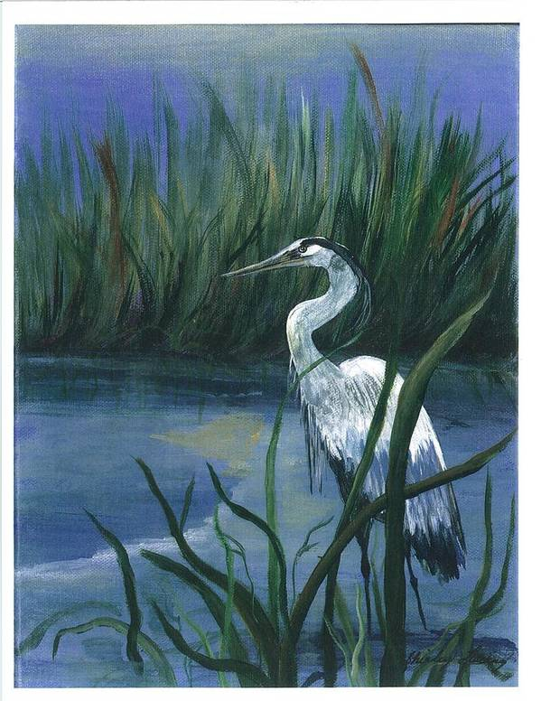 Coastal Landscape Poster featuring the painting Keeper Of The Pond II by Shirley Lawing