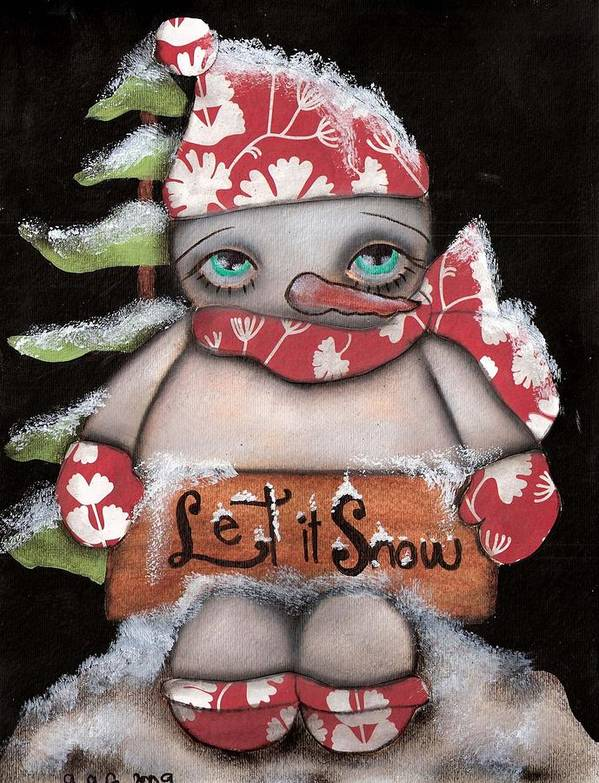 Snow Man Poster featuring the painting Let It Snow 2 by Abril Andrade Griffith