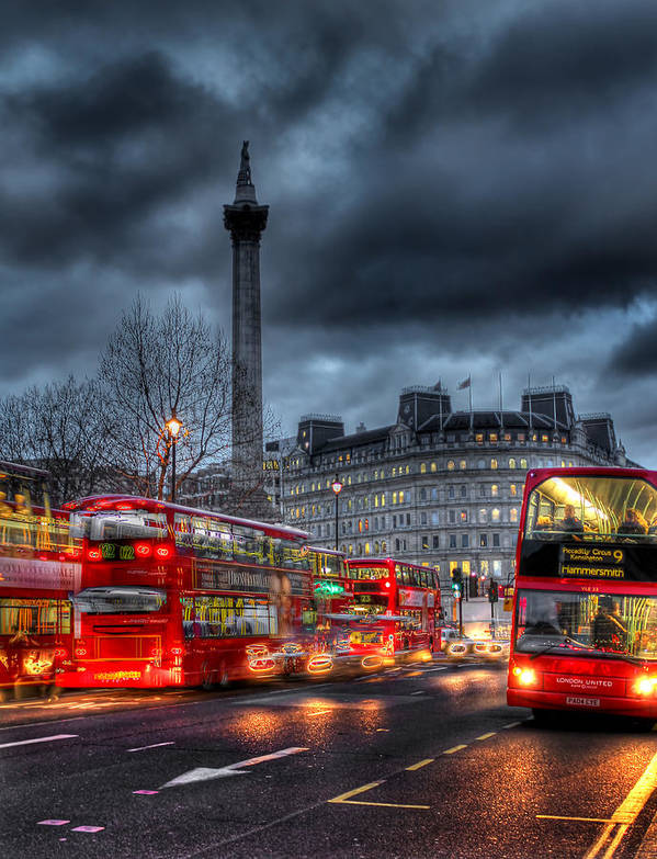 London Red Buses Poster featuring the photograph London Red Buses by Jasna Buncic
