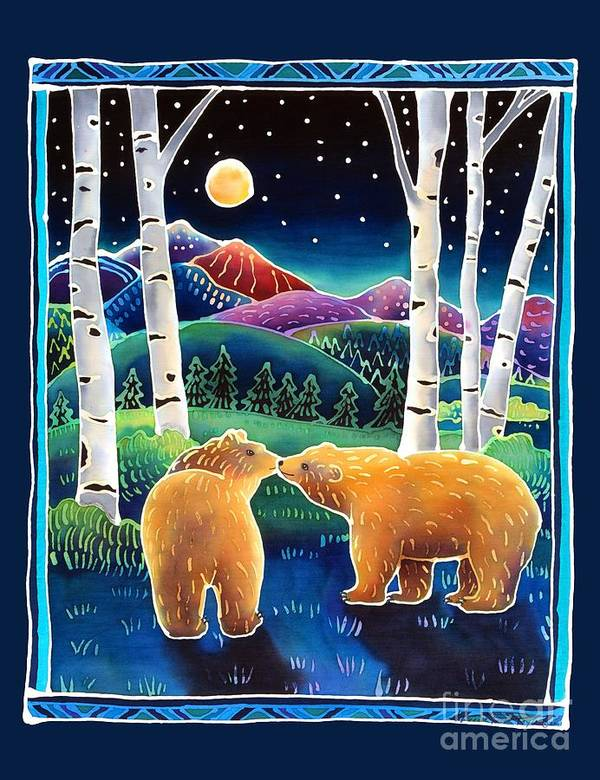 Bear Poster featuring the painting Meeting In The Moonlight by Harriet Peck Taylor