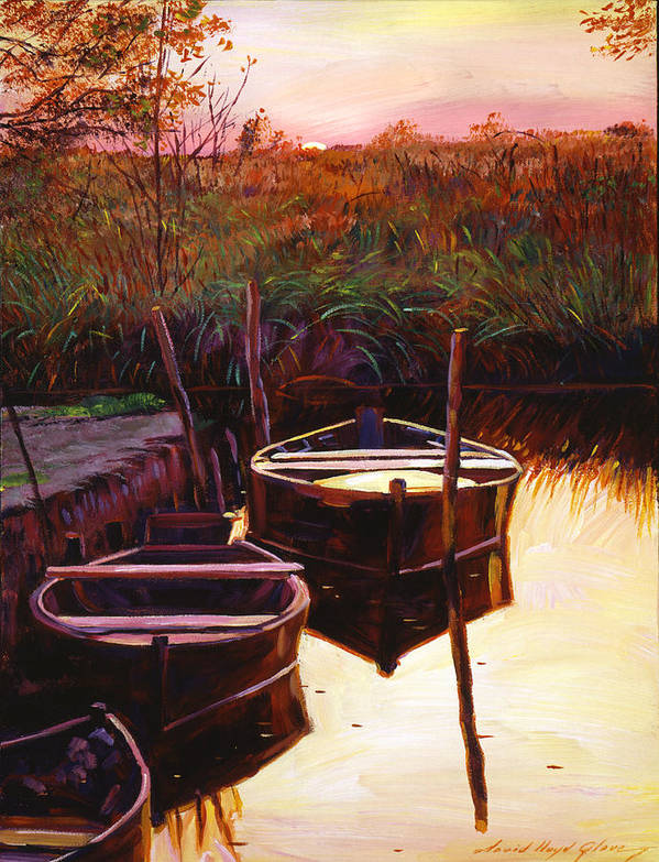 Lakes Poster featuring the painting Moment At Sunrise by David Lloyd Glover
