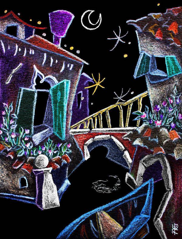 Canal Grande Poster featuring the drawing Scorcio Veneziano - Venise Art Dessin - Dibujo Canal De Venecia by Arte Venezia