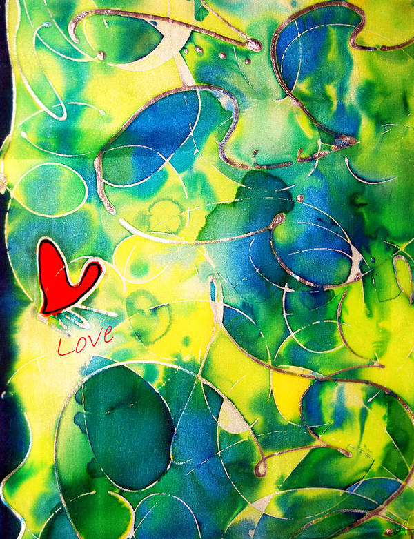 Abstract Poster featuring the painting Silk Painting With A Heart by Alexandra Jordankova