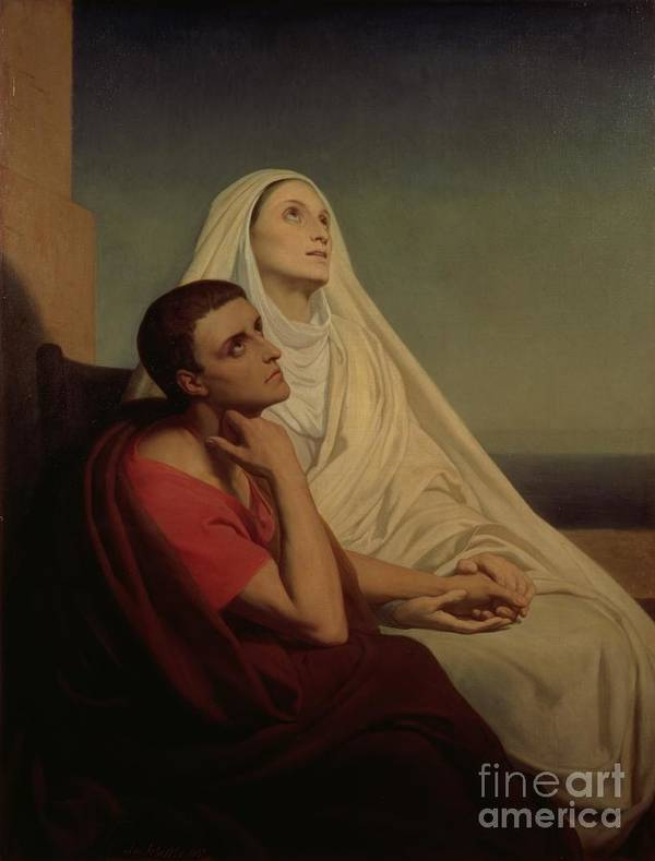 Praying; Widow; Devout; Family Poster featuring the painting St Augustine And His Mother St Monica by Ary Scheffer