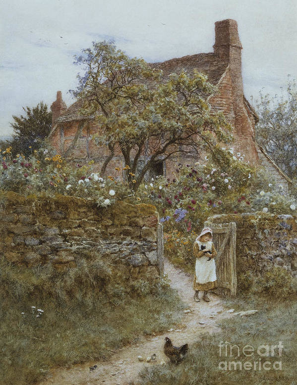 English; Landscape; Cottage; Rural; C19th; C20th; Country; Lane; Path; Child; Girl; Female; Victorian; Gateway Poster featuring the painting The Black Kitten by Helen Allingham
