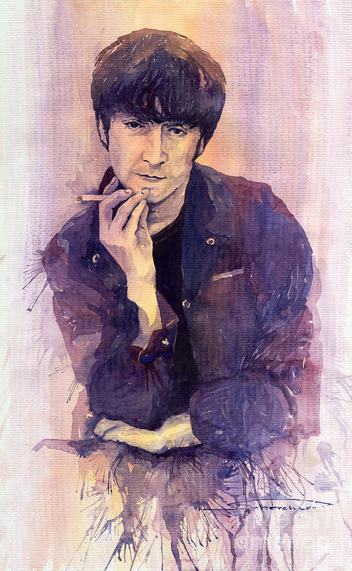 Watercolour Poster featuring the painting The Beatles John Lennon by Yuriy Shevchuk
