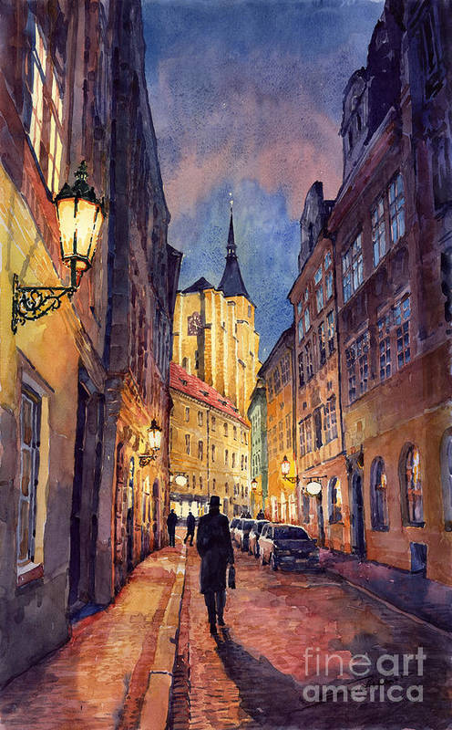 Architecture Poster featuring the painting Prague Husova Street by Yuriy Shevchuk