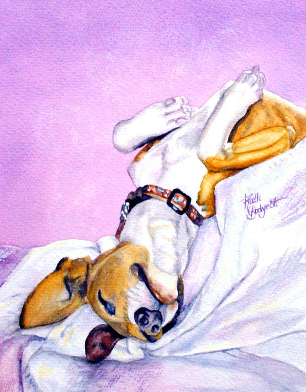 Dogs Poster featuring the painting Zonked Into Blissfulness by Ruth Bodycott