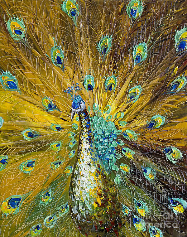 Peacock Poster featuring the painting Peacock by Willson Lau