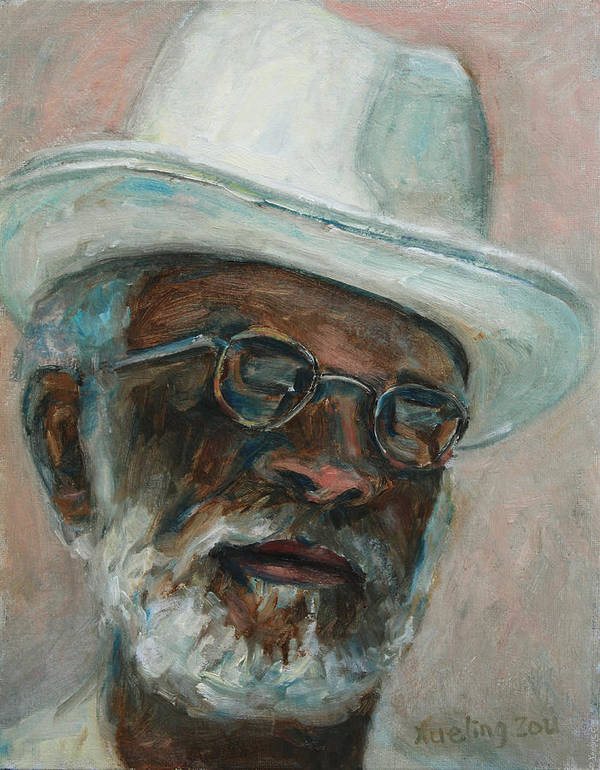 African American Poster featuring the painting Gray Beard Under White Hat by Xueling Zou