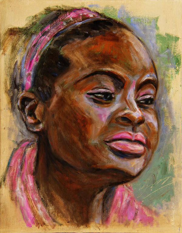 Woman Poster featuring the painting African American 3 by Xueling Zou
