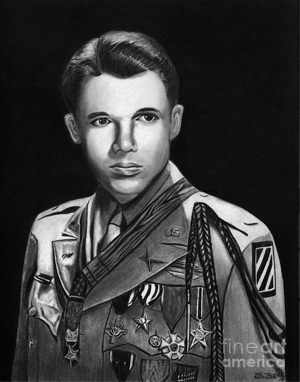 Audie Murphy Poster featuring the drawing Audie Murphy by Peter Piatt