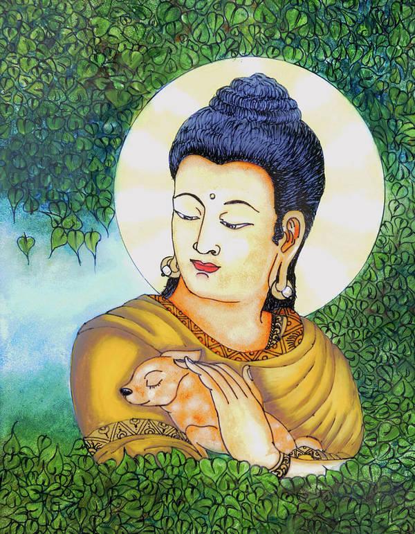 Buddha Poster featuring the glass art Buddha Green by Loganathan E