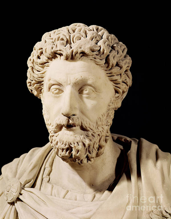 Roman Emperor Poster featuring the sculpture Bust Of Marcus Aurelius by Anonymous