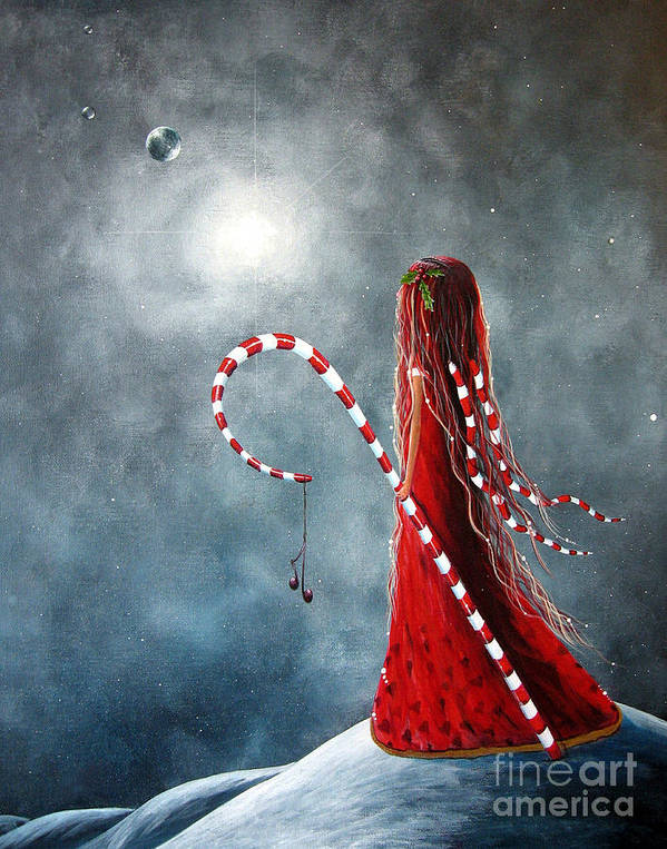 Fairies Poster featuring the painting Candy Cane Fairy By Shawna Erback by Shawna Erback