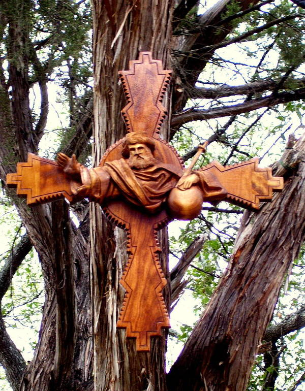 Cross Poster featuring the sculpture God The Father Cross by Michael Pasko