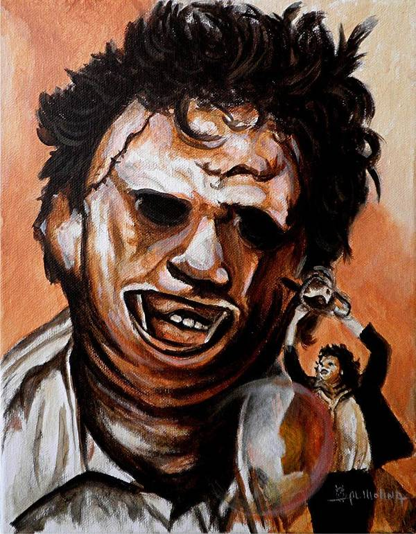 Leatherface Poster featuring the painting Leatherface Unleashed by Al Molina