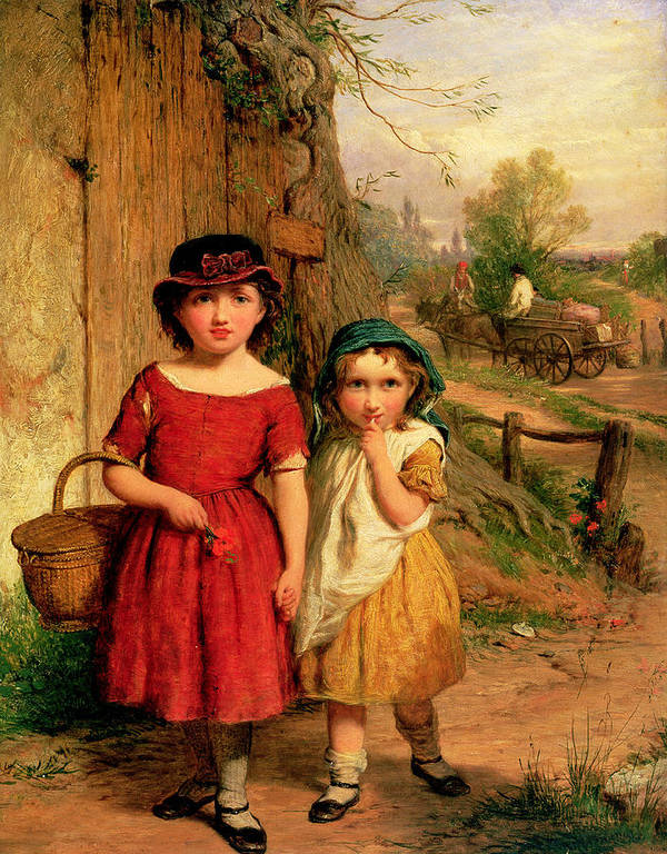 Girl Poster featuring the painting Little Villagers by George Smith
