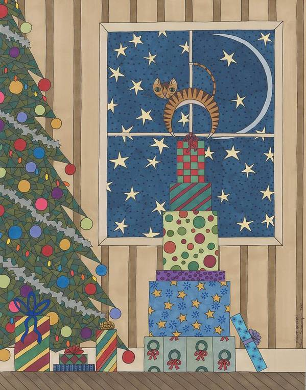 Christmas Poster featuring the drawing Night Before by Pamela Schiermeyer