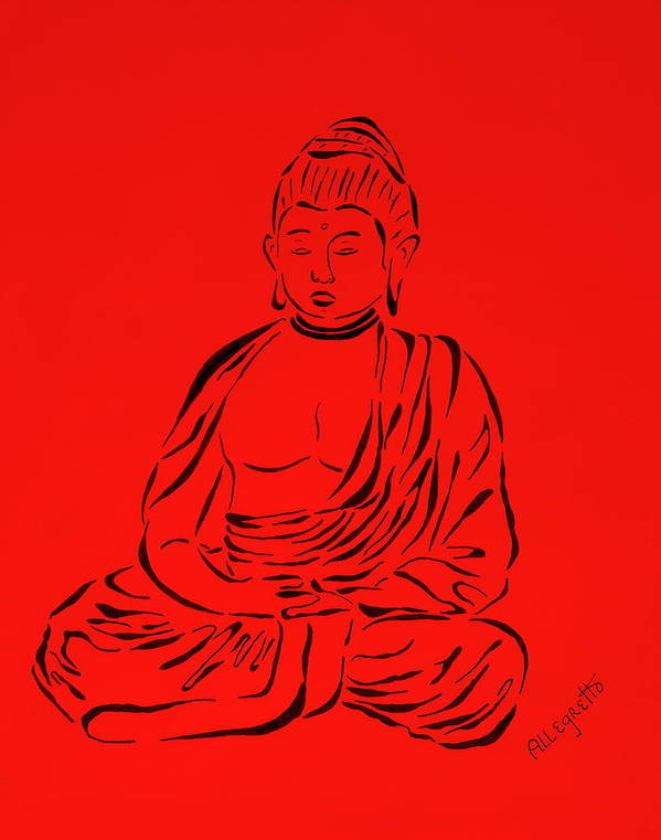 Pamela Allegretto-franz Poster featuring the painting Red Buddha by Pamela Allegretto