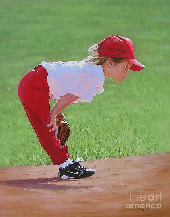 Children Poster featuring the painting Taking An Infield Position by Emily Land