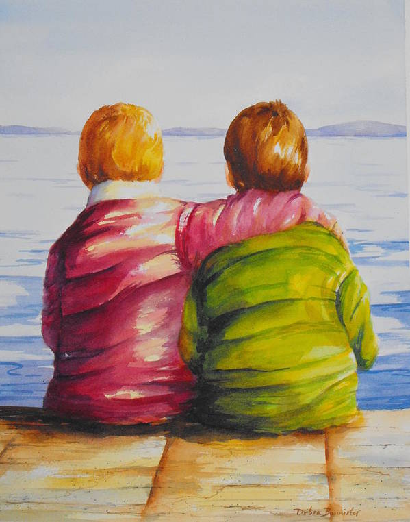 Water Poster featuring the painting Best Friends by Debra Bannister