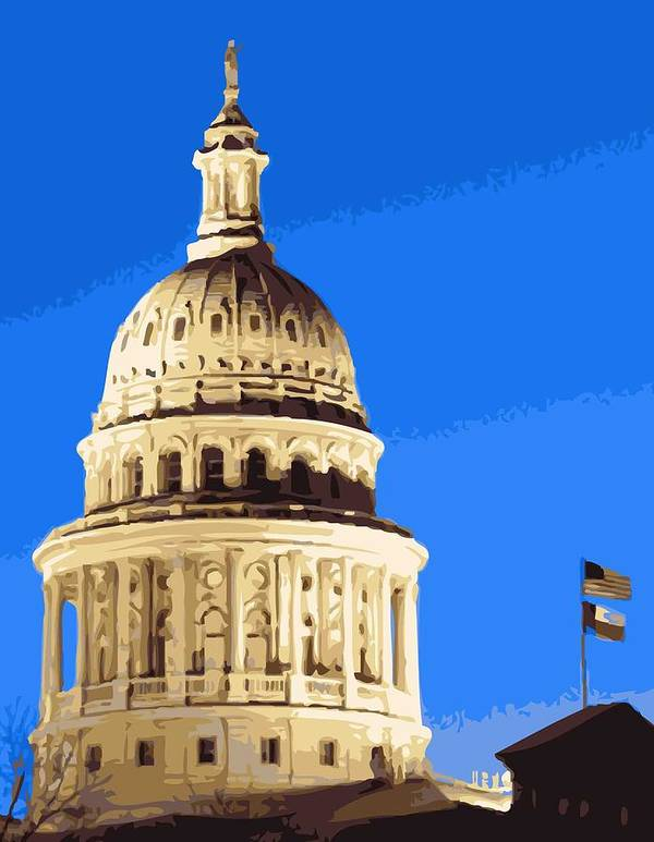 Capitol Of Texas Poster featuring the photograph Capitol Dome Color 16 by Scott Kelley