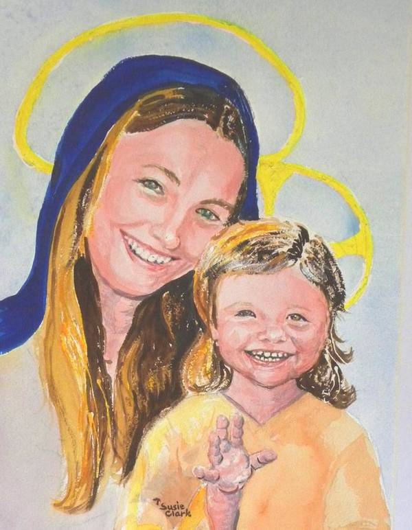Joyful Madonna And Child Poster featuring the painting Madonna And Child by Susan Clark