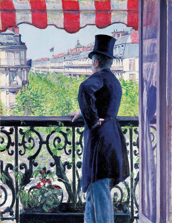 Caillebotte Poster featuring the painting Man On A Balcony On Boulevard Haussmann by Gustave Caillebotte
