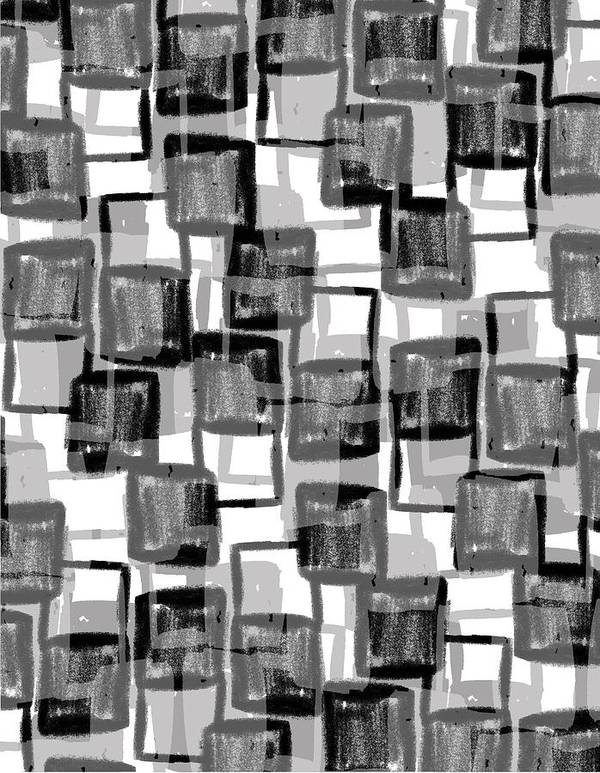 Monochrome Squares (digital) By Louisa Knight (contemporary Artist) Poster featuring the photograph Monochrome Squares by Louisa Knight