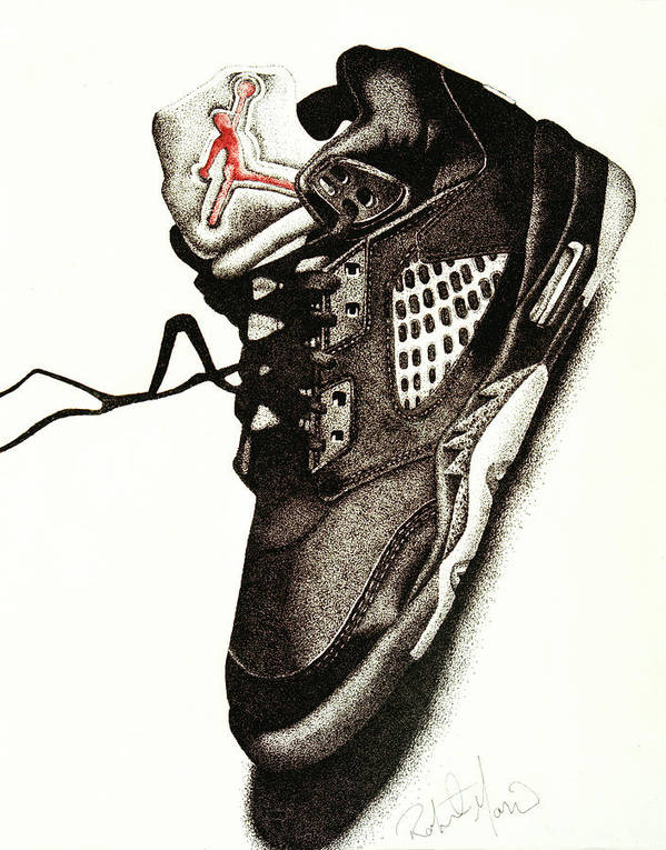 Shoes Poster featuring the drawing Air Jordan by Robert Morin