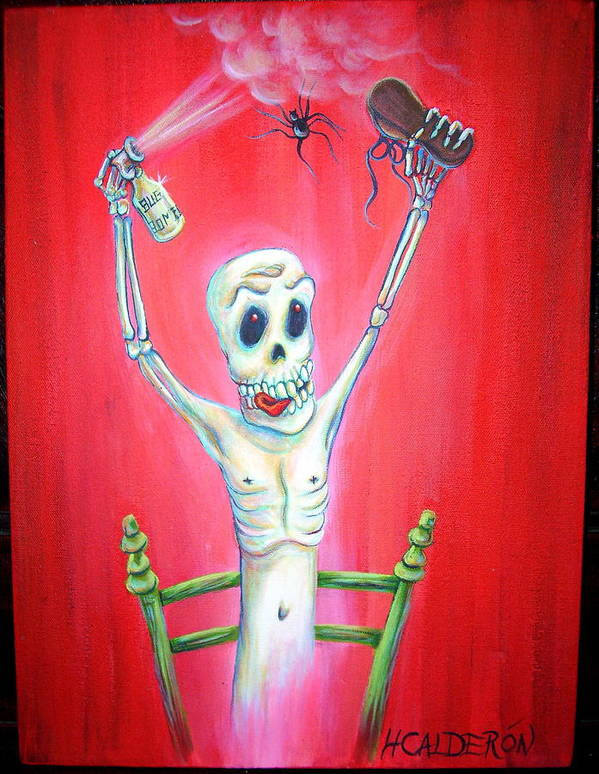 Day Of The Dead Poster featuring the painting Bug Bomb by Heather Calderon