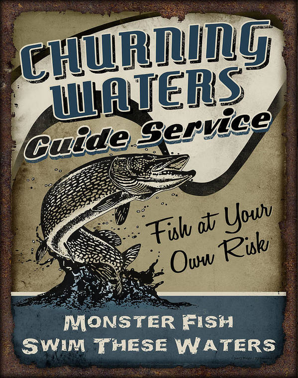 Fishing Poster featuring the painting Churning Waters Guide Service by JQ Licensing