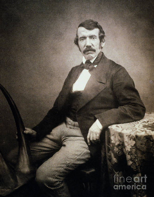 1864 Poster featuring the painting David Livingstone (1813-1873) by Granger