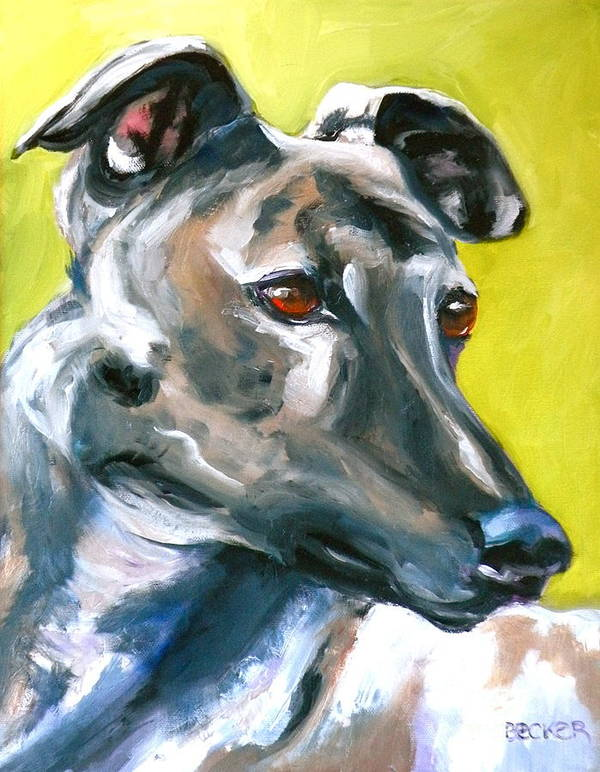 Dogs Poster featuring the painting Greyhound by Susan A Becker