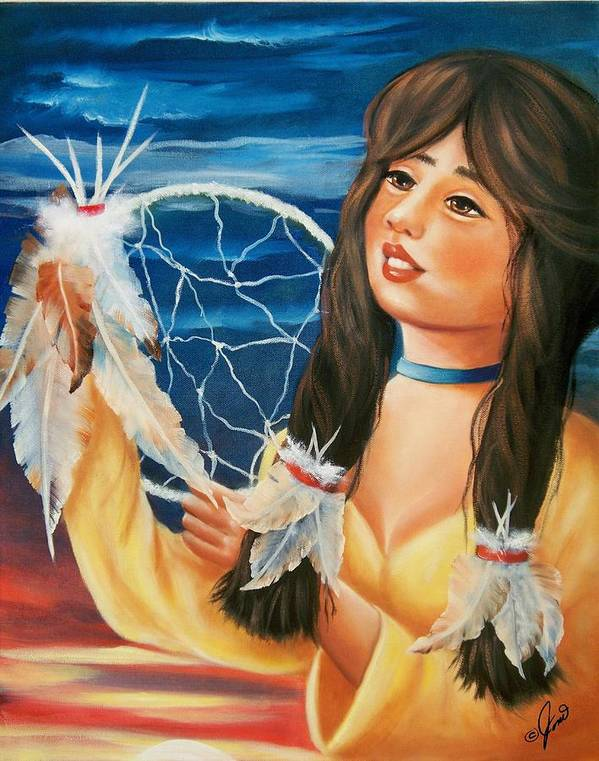 Dream Catcher Poster featuring the painting Indian Maiden With Dream Catcher by Joni McPherson