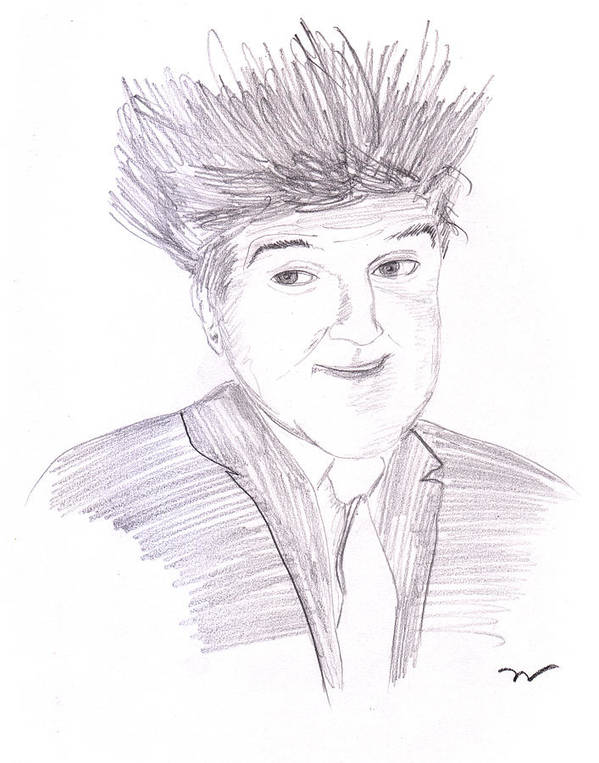 Graphite Poster featuring the drawing Jay Leno Hair Day by M Valeriano