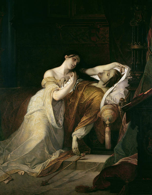 Joanna The Mad With Philip I The Handsome Poster featuring the painting Joanna The Mad With Philip I The Handsome by Louis Gallait