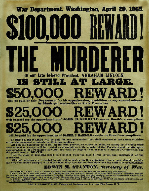 Wanted Poster featuring the drawing John Wilkes Booth Wanted Poster by War Is Hell Store