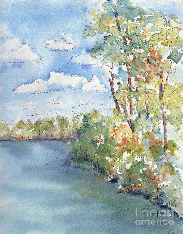 Impressionism Poster featuring the painting Lucien Lake Shoreline by Pat Katz