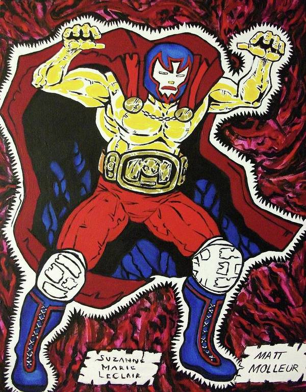 Matthew Molleur Poster featuring the painting Masked Wrestler Collaboration by Suzanne Marie Leclair