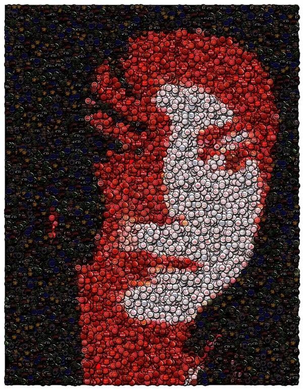 Mj Poster featuring the mixed media Michael Jackson Bottle Cap Mosaic by Paul Van Scott